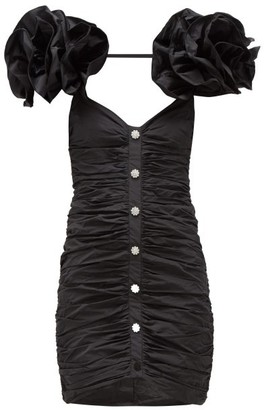 Alessandra Rich Crystal-button Ruffle-sleeve Ruched Taffeta Dress - Black
