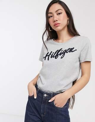 Tommy Hilfiger Velia logo t-shirt-Grey