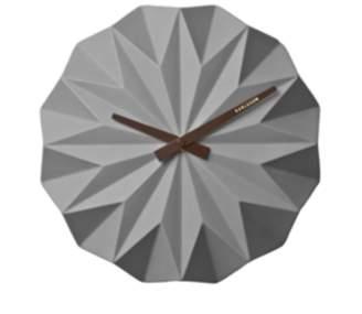 Present Time Matt Grey Ceramic Origami Wall Clock - grey | ceramic - Grey/Grey