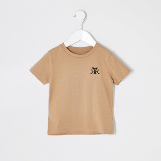 River Island Mini boys stone RVR embroidered T-shirt
