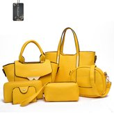 Donaword Women 6 Pieces Muti-purpose Bag in Bag Purse PUeather Handbag Set Back