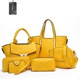 Donaword Women Muti-purpose 6 Pieces Bag in Bag Purse PUeather Shouder Handbags Cutch Waet Set Purpe
