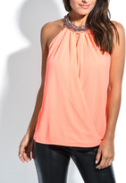 Solange Coral & Metallic Geo-Print Yoke Neck Top