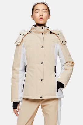 Topshop Stone Color Block Ski Jacket by SNO