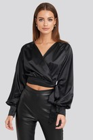 NA-KD Wrap Front Cropped Blouse