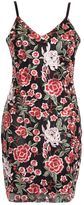 Quiz Black and Red Rose Bodycon Dress