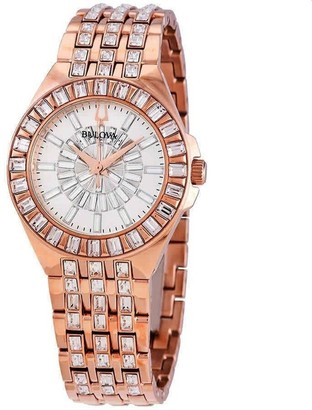 Bulova Women's 98L268 'Phantom' Rose Gold-Tone Stainless Steel with Sets of Crystal Watch - Silver