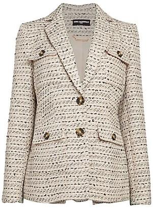 Karl Lagerfeld Paris Tweed Wool-Blend Blazer