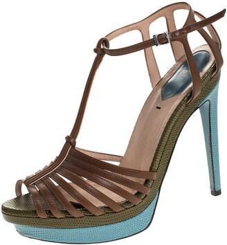 Fendi Brown Leather T Strap Platform Sandals Size 38