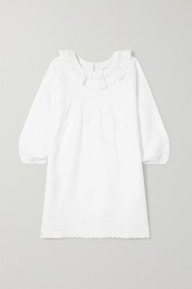 Dôen Kids DOEN Kids - Mini Georgia Ruffled Lace-trimmed Pintucked Ramie Dress - White