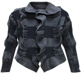 Issey Miyake Ruffled Stretch-denim Cropped Jacket - Womens - Blue White