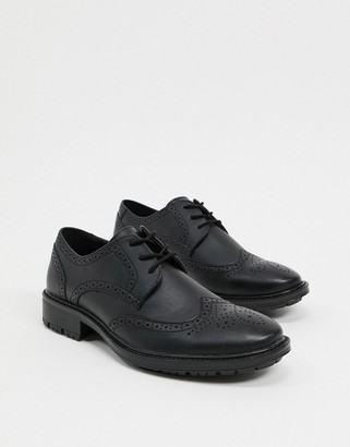Jack and Jones faux leather brogues with chunky sole in black