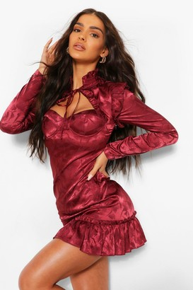 boohoo Satin Jacquard Cupped Frill Hem Dress