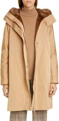 Lafayette 148 New York Sinclair Couture Cloth Coat with Genuine Mink Fur Trim