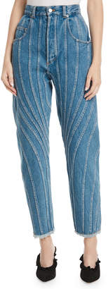 Thierry Mugler High-Waist Seamed Straight-Leg Jeans w/ Fringe Hem