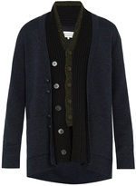 Maison Margiela Contrast-panel wool-blend cardigan