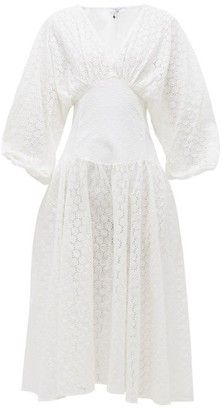 My Beachy Side - Ruched-sleeve Broderie-anglaise Cotton Midi Dress - Womens - White