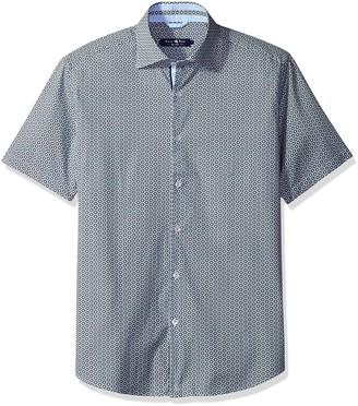 Stone Rose Men's Geo-Printed Short Sleeve Button Down Shirt