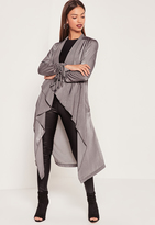 Missguided Waterfall Ruched Sleeved Satin Duster Jacket Grey