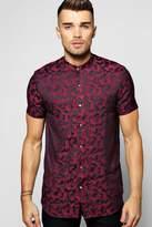 Boohoo Short Sleeve Camo Jacquard Woven Shirt