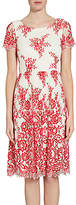 Gina Bacconi Dainty Embroidered Lace Dress, Red