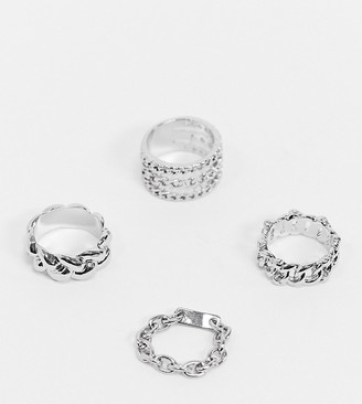 Reclaimed Vintage Inspired mixed chain ring pack in silver