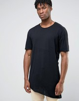 Pull&Bear Asymmetric T-Shirt In Black