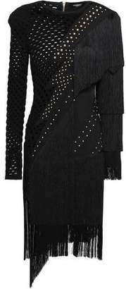 Balmain Fringed Studded Laser-cut Ponte Dress