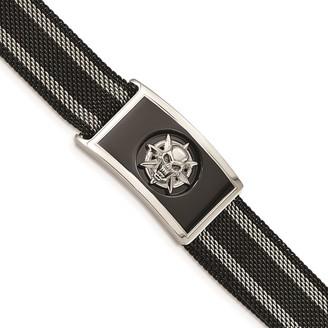Chisel Stainless Steel Polished Black IP-plated Mesh Adjustable Magnetic Skull Bracelet