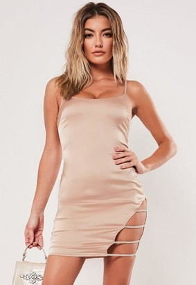 Missguided Champagne Diamante Cut Out Stretch Satin Mini Dress