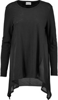 DKNY Silk-paneled cotton and modal-blend top