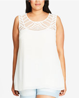 City Chic Trendy Plus Size Illusion Swing Top