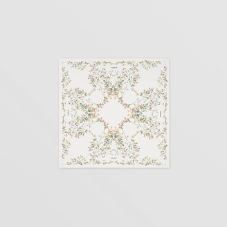 Burberry Rose Print Silk Square Scarf