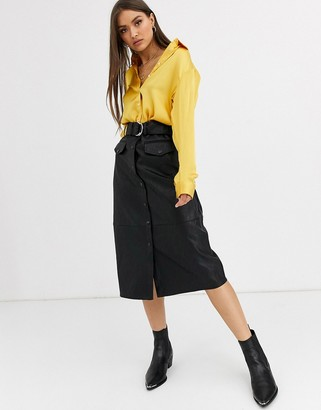 Neon Rose belted midi pencil skirt in faux leather-Black