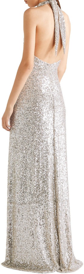 Thumbnail for your product : Naeem Khan Sequined Tulle Halterneck Gown