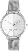 Nine West Women's Silver-Tone Mesh Bracelet Watch 40mm Nw-1987SVRT