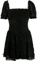 Self-Portrait Square Neck Sequin-Embellished Dress