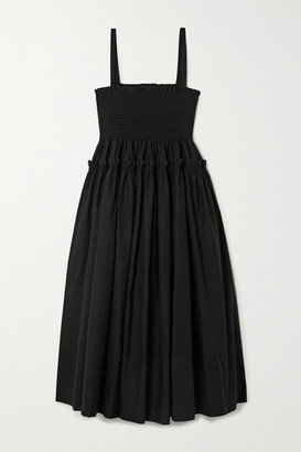 Molly Goddard Marlene Shirred Tiered Cotton Midi Dress - Black