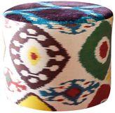 Les Ottomans Silk Ikat & Velvet Pouf