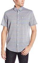 Original Penguin Men's Mini Rainbow Stripe Woven Short Sleeve Shirt Plain Weave, Silver Birch, XX-Large