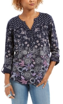 Style&Co. Style & Co. Button-Down Botanical Print Peasant Top, Created for Macy's