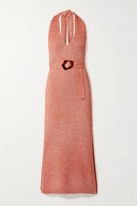 Nicholas Harissa Melange Cotton-blend Halterneck Midi Dress - Red