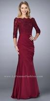 La Femme Pleated Scalloped Lace Bateau Embellished Evening Dress