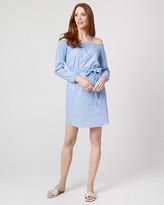 Le Château Stripe Cotton Poplin Off-the-Shoulder Dress