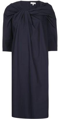 DELPOZO Gathered-Neck Midi Dress