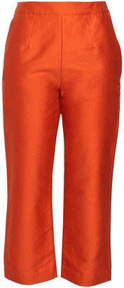 Isa Arfen Cropped Cotton-blend Shantung Tapered Pants