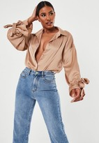 Missguided Bronze Tie Sleeve Extreme Oversized Satin Shirt