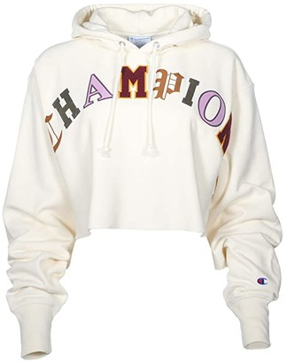 Champion Reverse Weave(r) Crop Hoodie - Old English (Chalk White) Women's Clothing