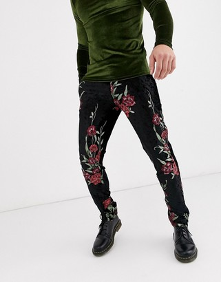 Twisted Tailor super skinny velvet trousers with floral jacquard in black
