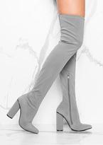 Missy Empire Natalia Grey Over Knee Heeled Boots